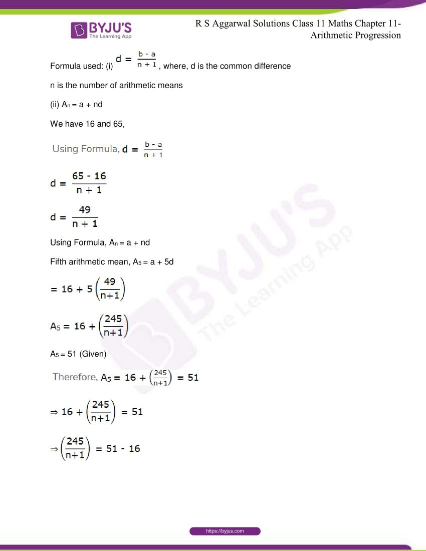 r s aggarwal solutions class 11 maths chapter 11 arithmetic progression 60