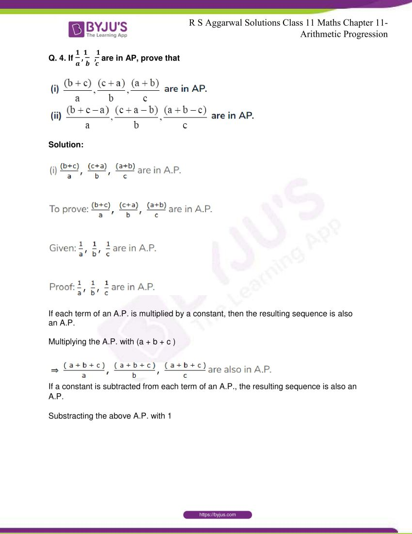 r s aggarwal solutions class 11 maths chapter 11 arithmetic progression 72