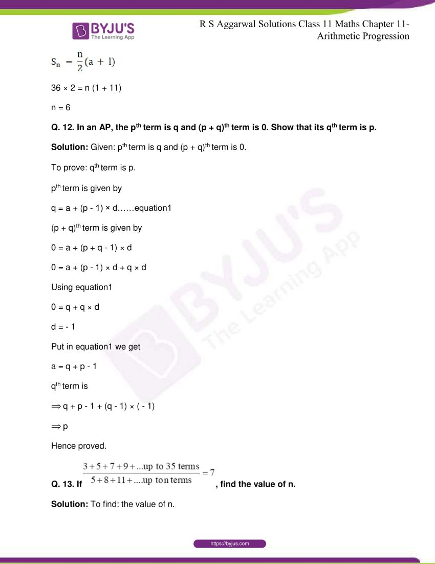 r s aggarwal solutions class 11 maths chapter 11 arithmetic progression 81