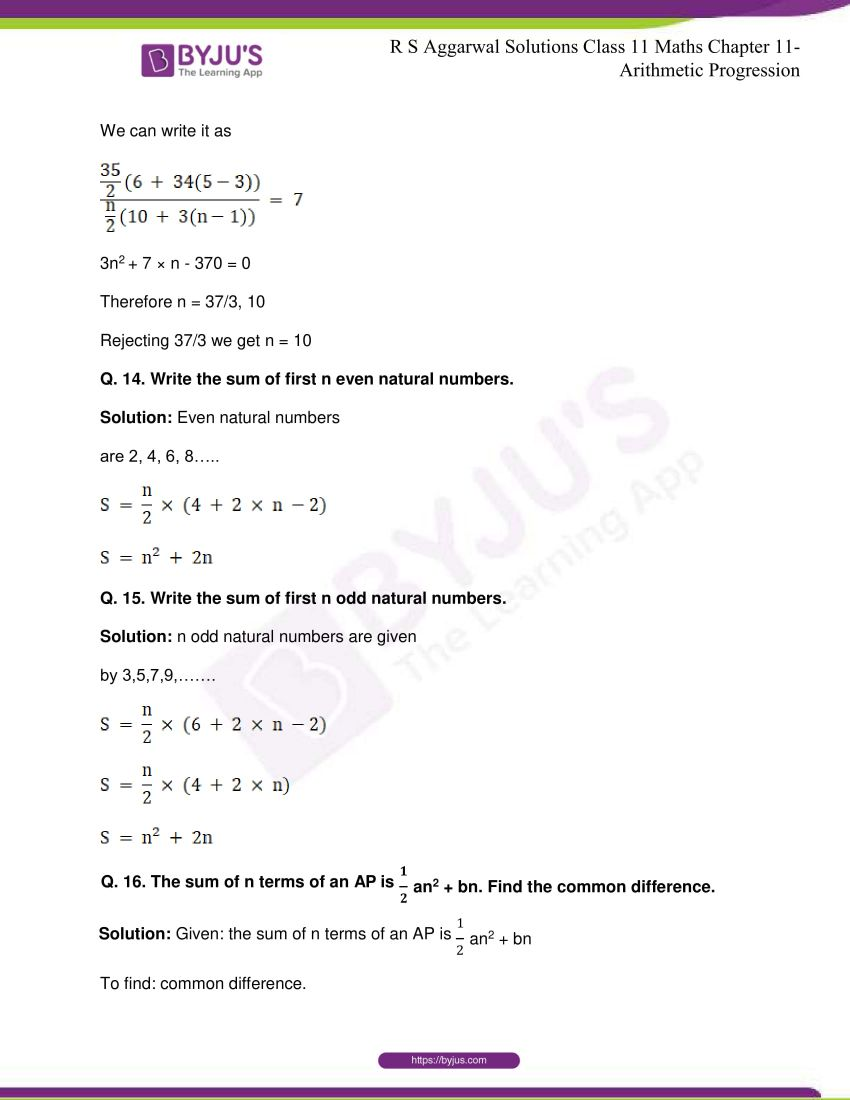 r s aggarwal solutions class 11 maths chapter 11 arithmetic progression 82