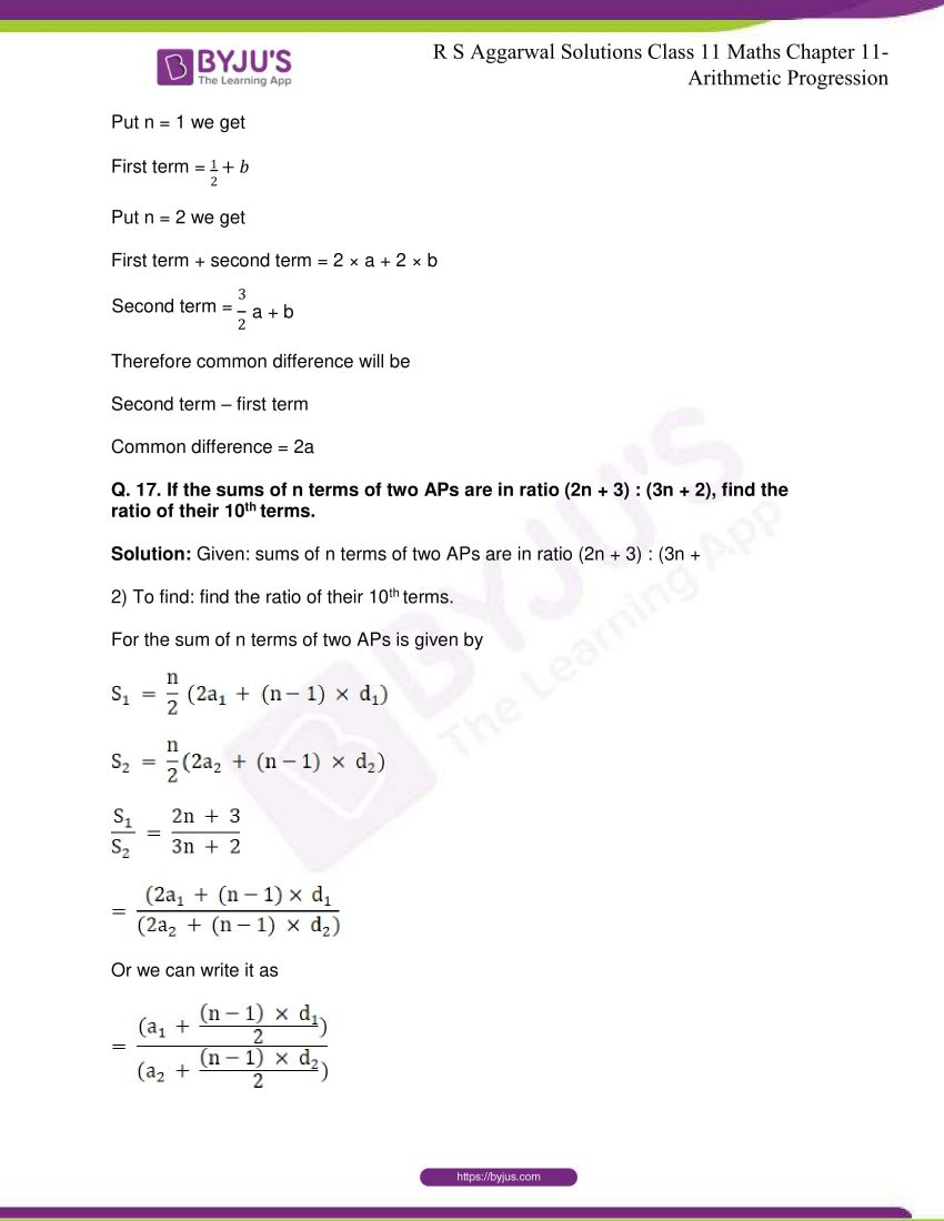 r s aggarwal solutions class 11 maths chapter 11 arithmetic progression 83