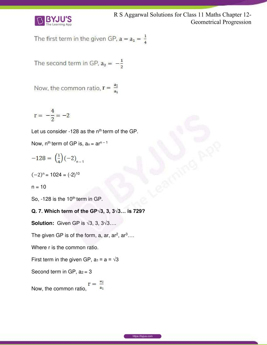 r s aggarwal solutions class 11 maths chapter 12 geometrical progression 006