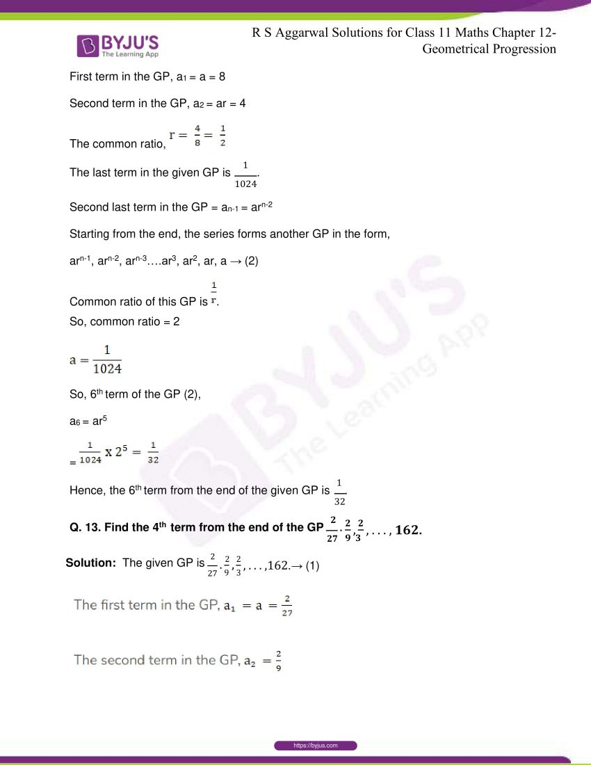 r s aggarwal solutions class 11 maths chapter 12 geometrical progression 011