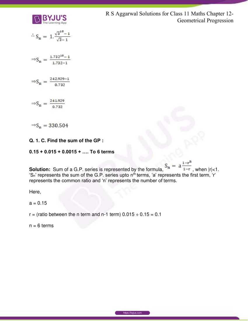 r s aggarwal solutions class 11 maths chapter 12 geometrical progression 020