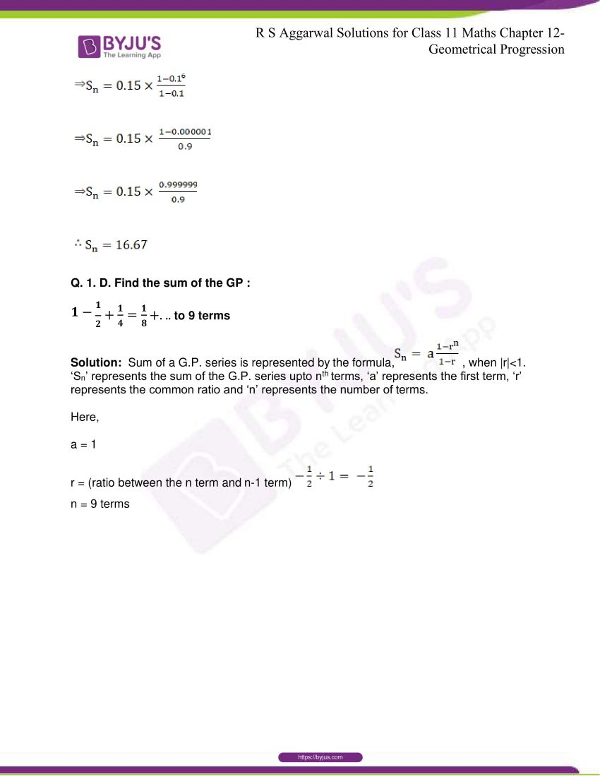 r s aggarwal solutions class 11 maths chapter 12 geometrical progression 021