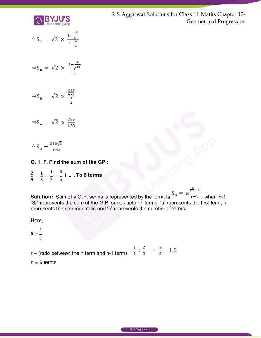 r s aggarwal solutions class 11 maths chapter 12 geometrical progression 023