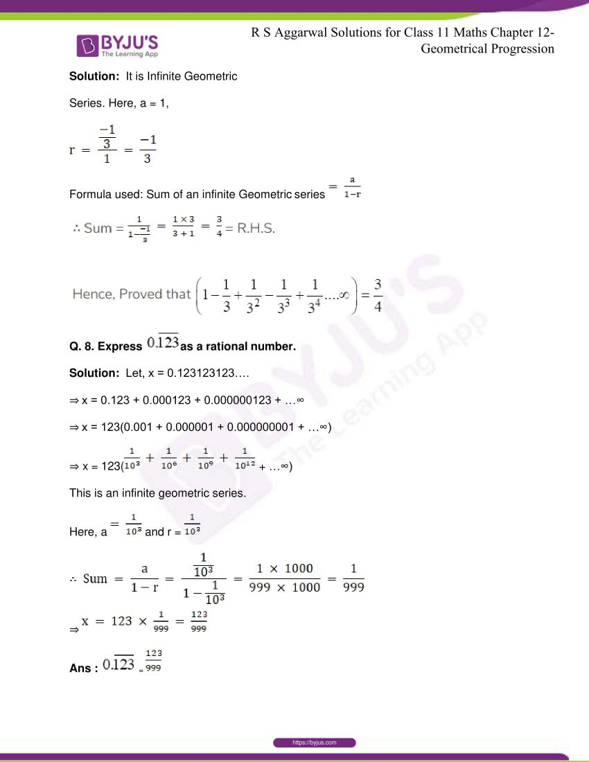 r s aggarwal solutions class 11 maths chapter 12 geometrical progression 102