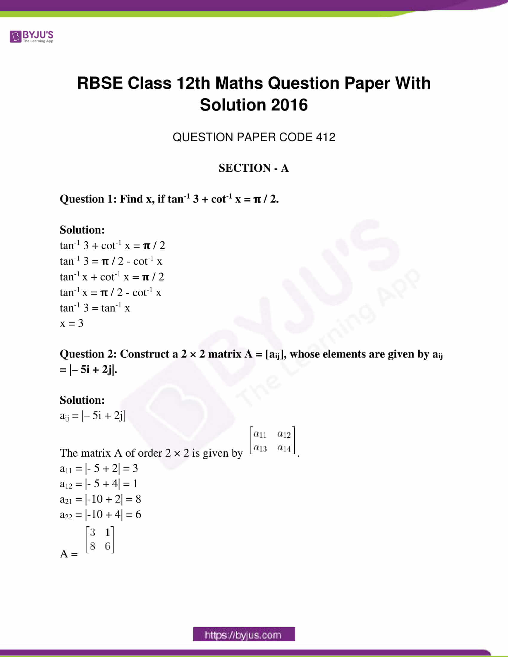 rajasthan class 12 exam question paper solutions march 2016 01