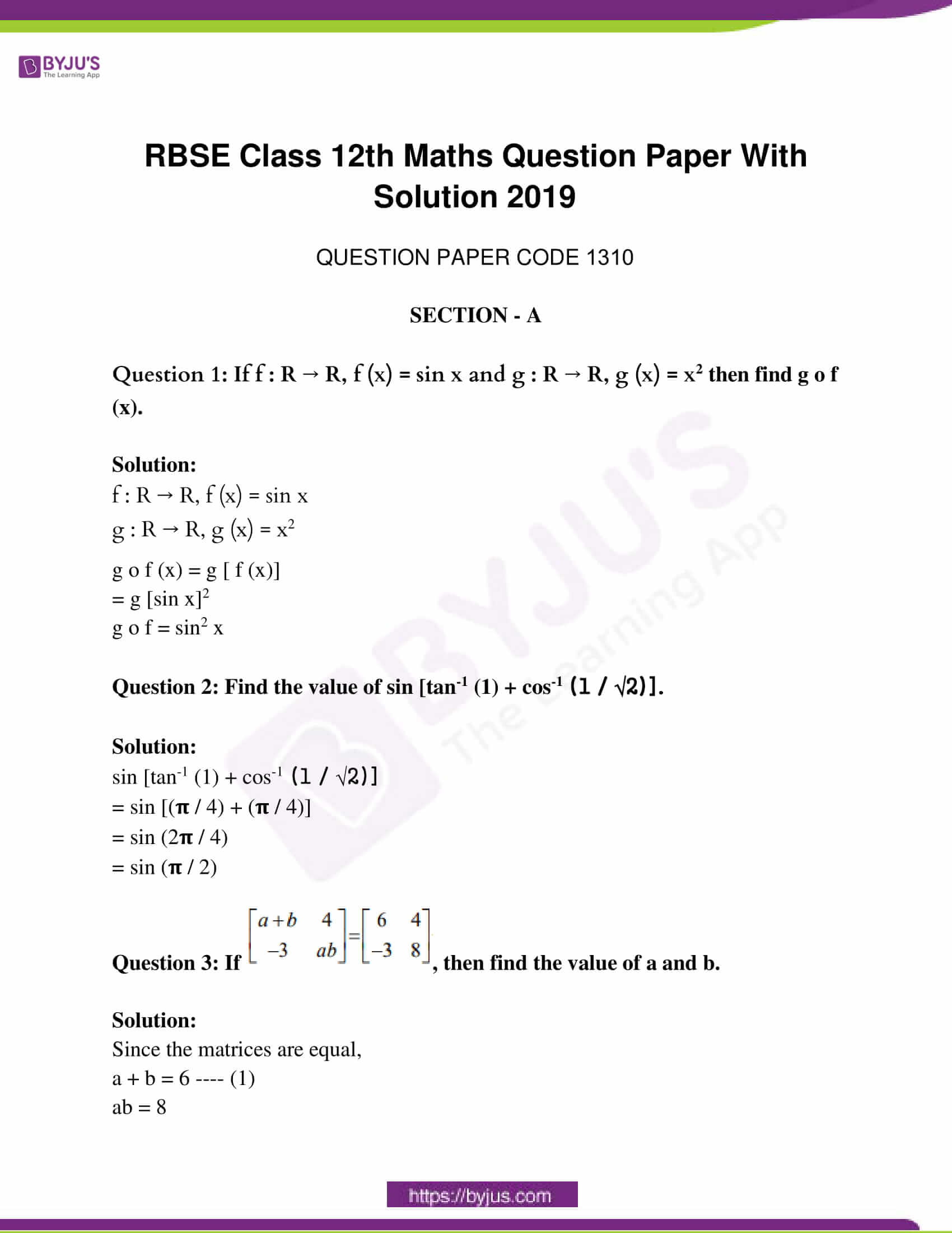 rajasthan class 12 exam question paper solutions march 2019 01