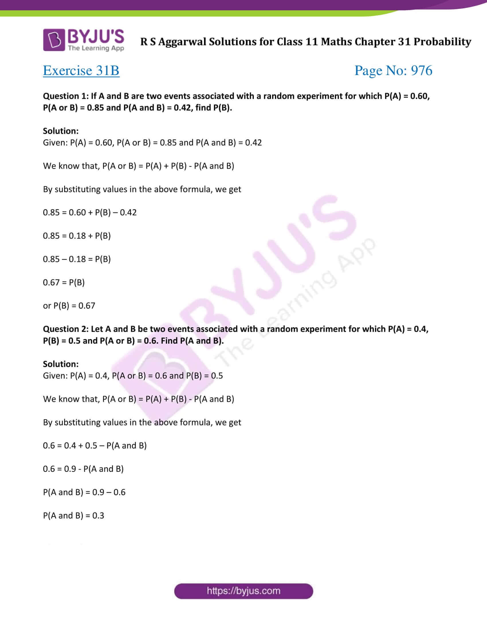 rs aggarwal solution class 11 maths chapter 31 ex b
