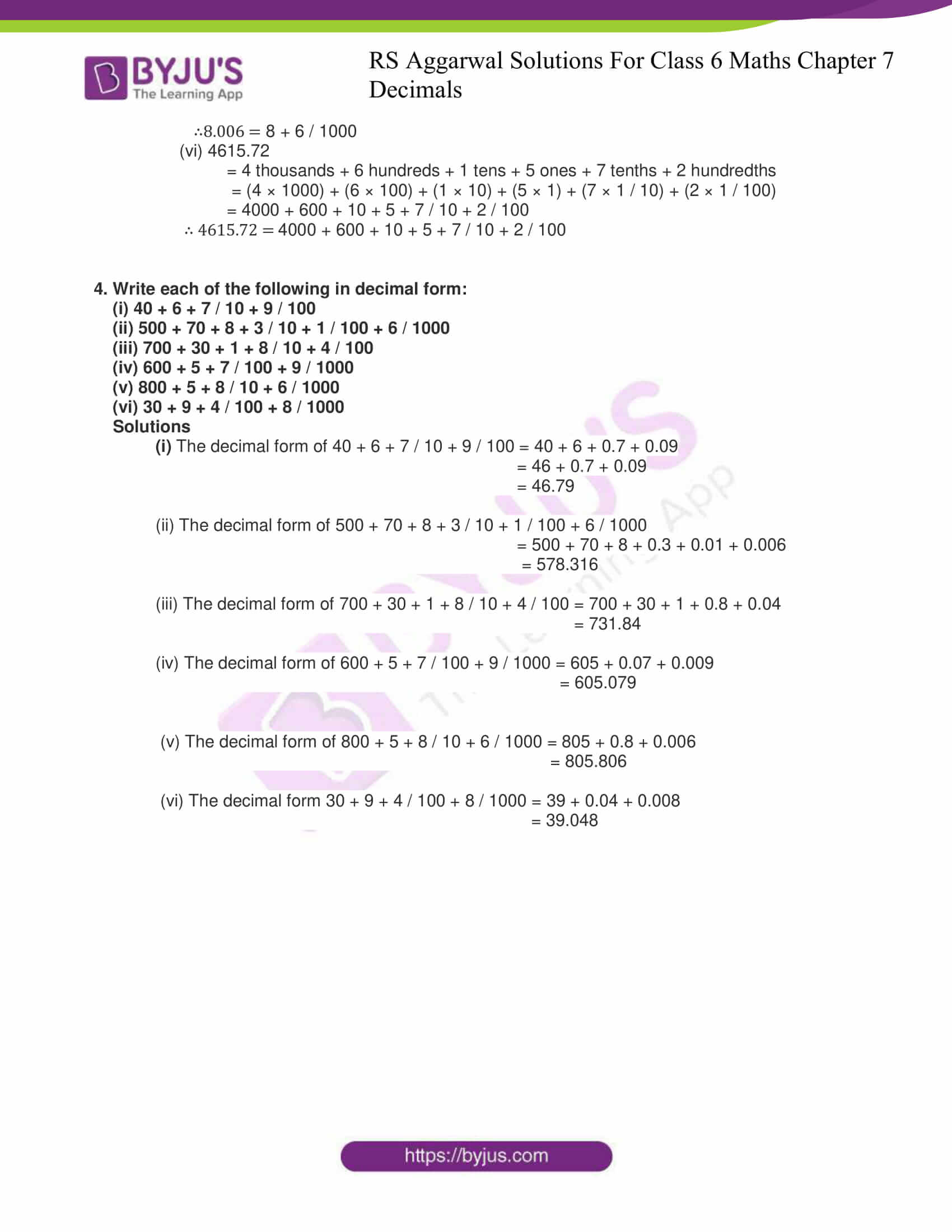rs aggarwal solutions for class 6 maths chapter 7 deci ex a 4