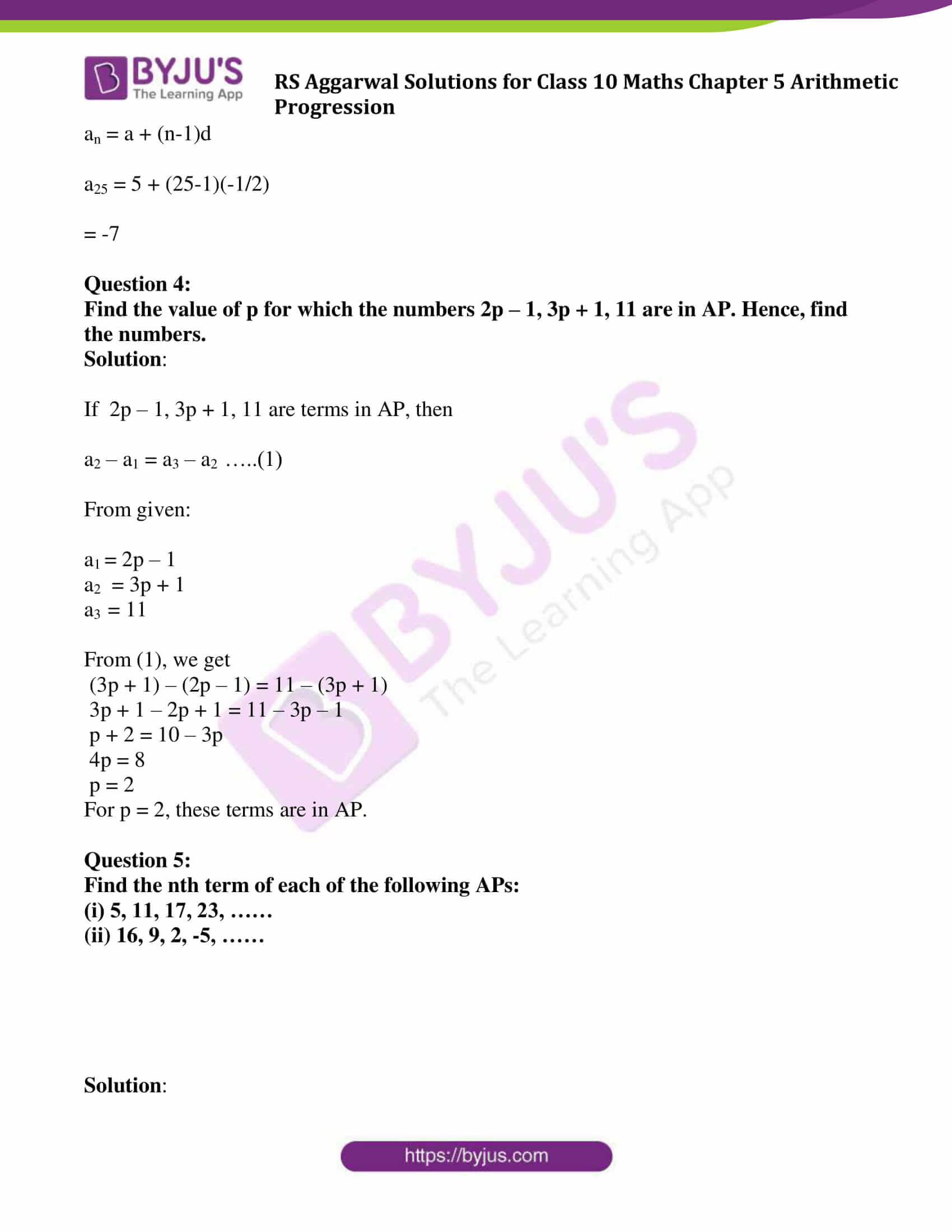 rsaggarwal solution class 10 maths chapter 5 exercise 5a 06