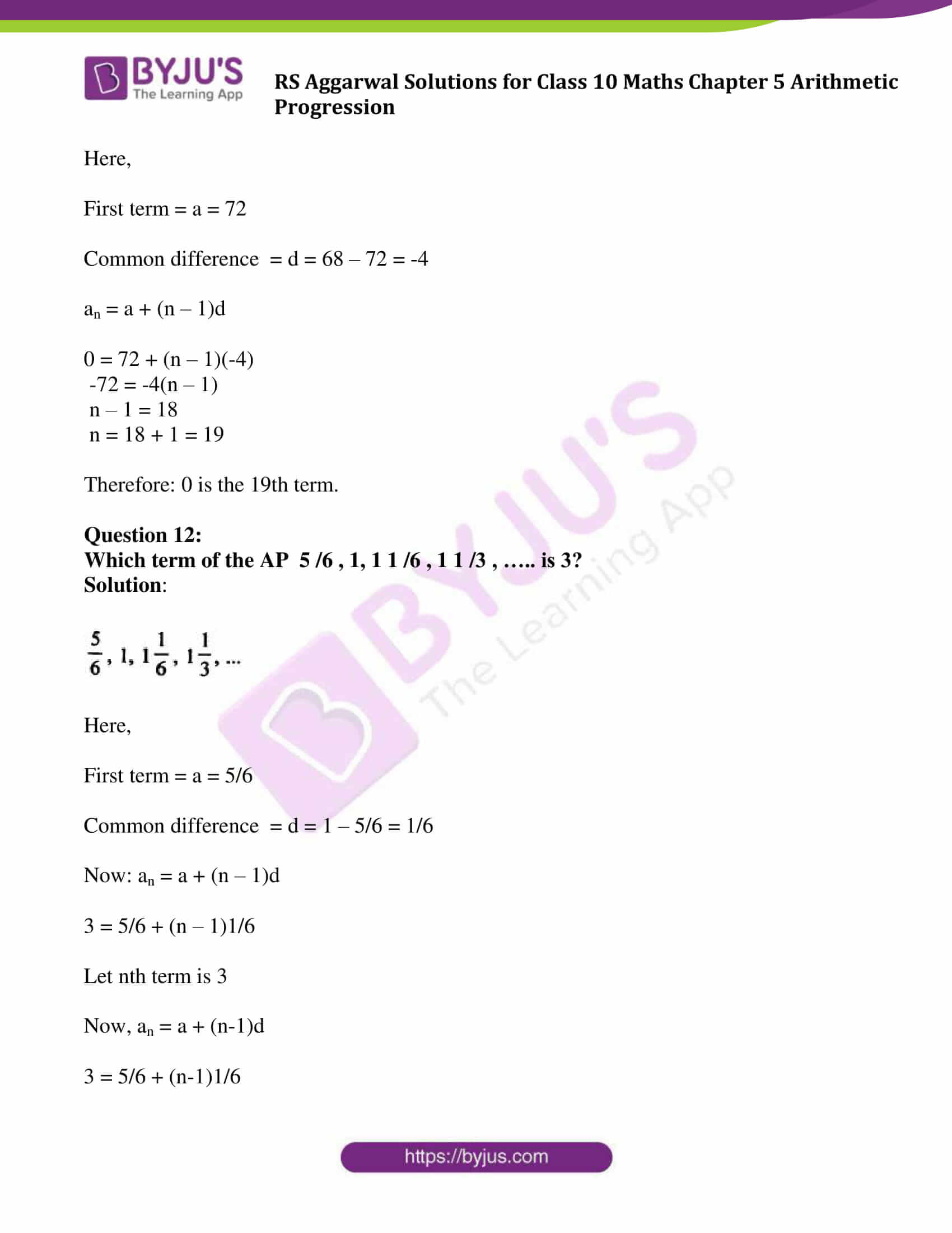 rsaggarwal solution class 10 maths chapter 5 exercise 5a 11
