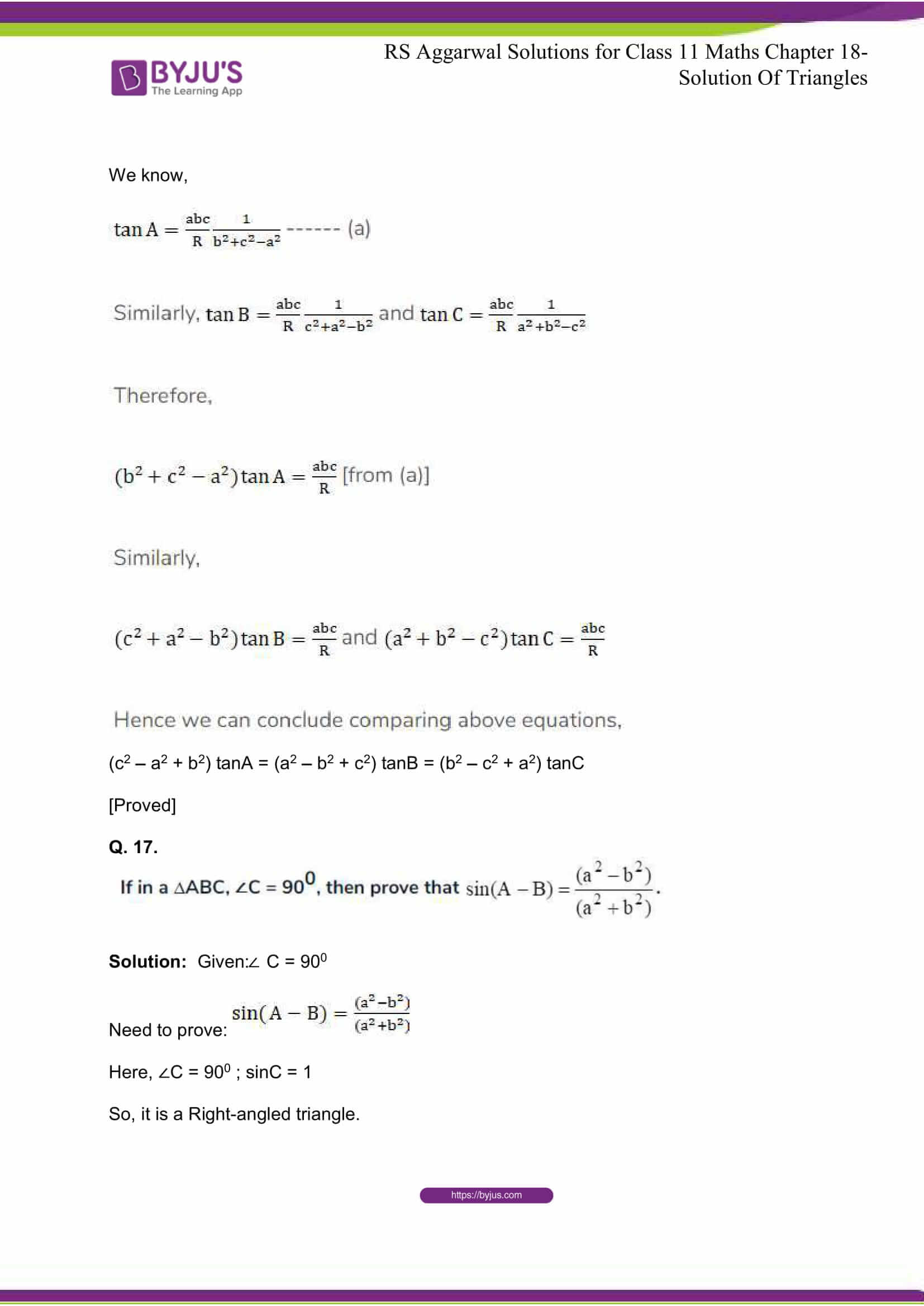 rsaggarwal solutions class 11 maths chapter 18 18