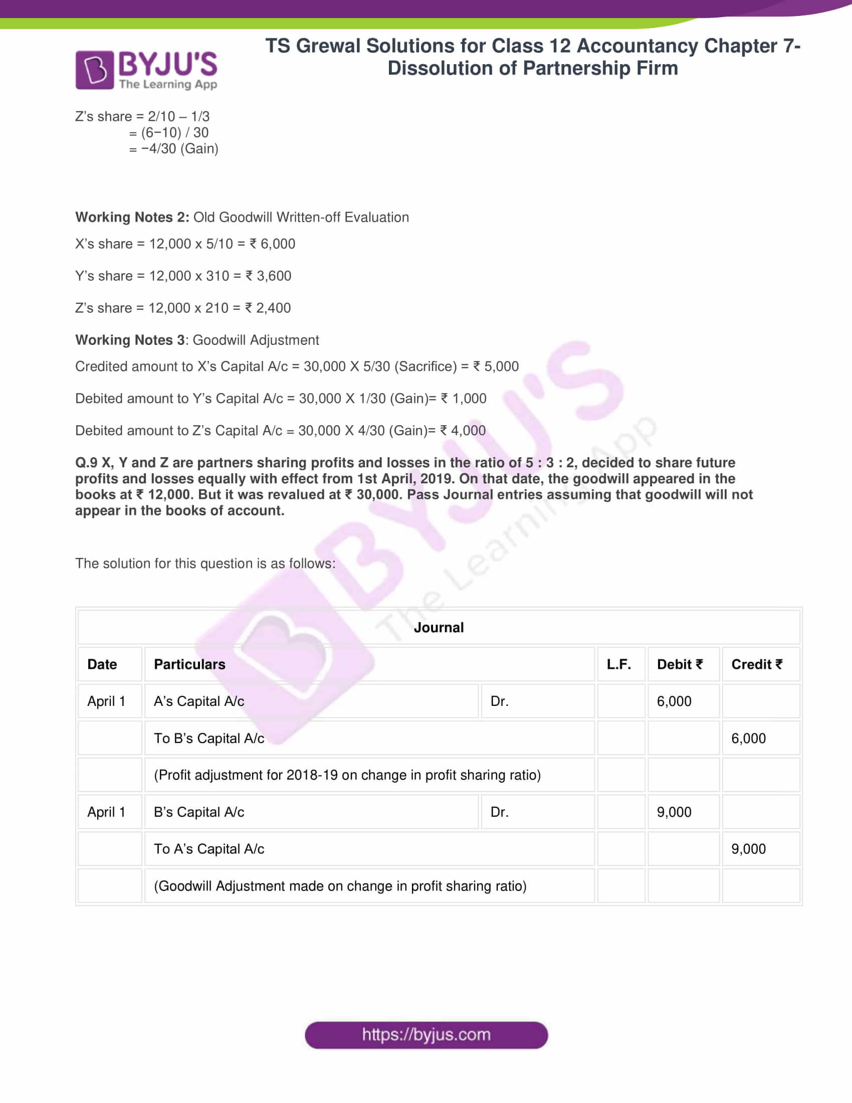 ts grewal solutions class 12 accountancy vol 1 chapter 4 change in profit 10