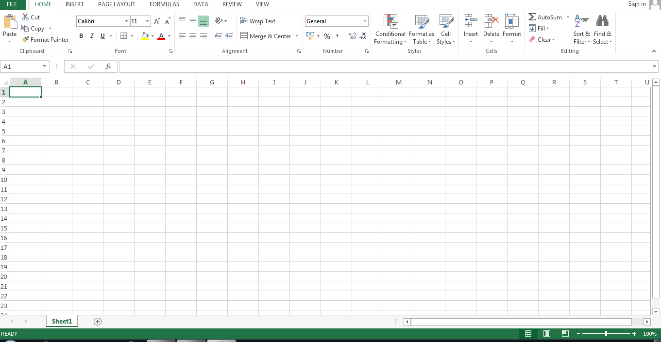 MS Excel Spreadsheet