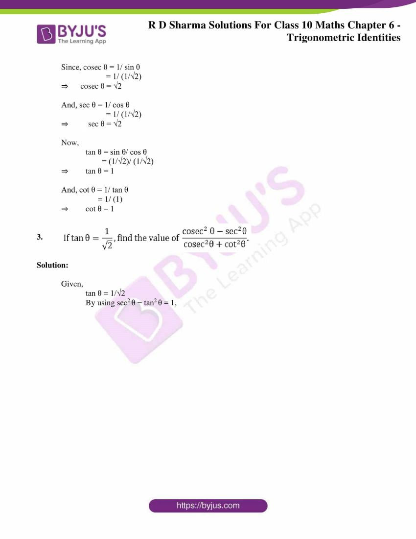 RD Sharma Solutions for Class 10 Chapter 6 Trigonometric Identities Exercise 6.2 31