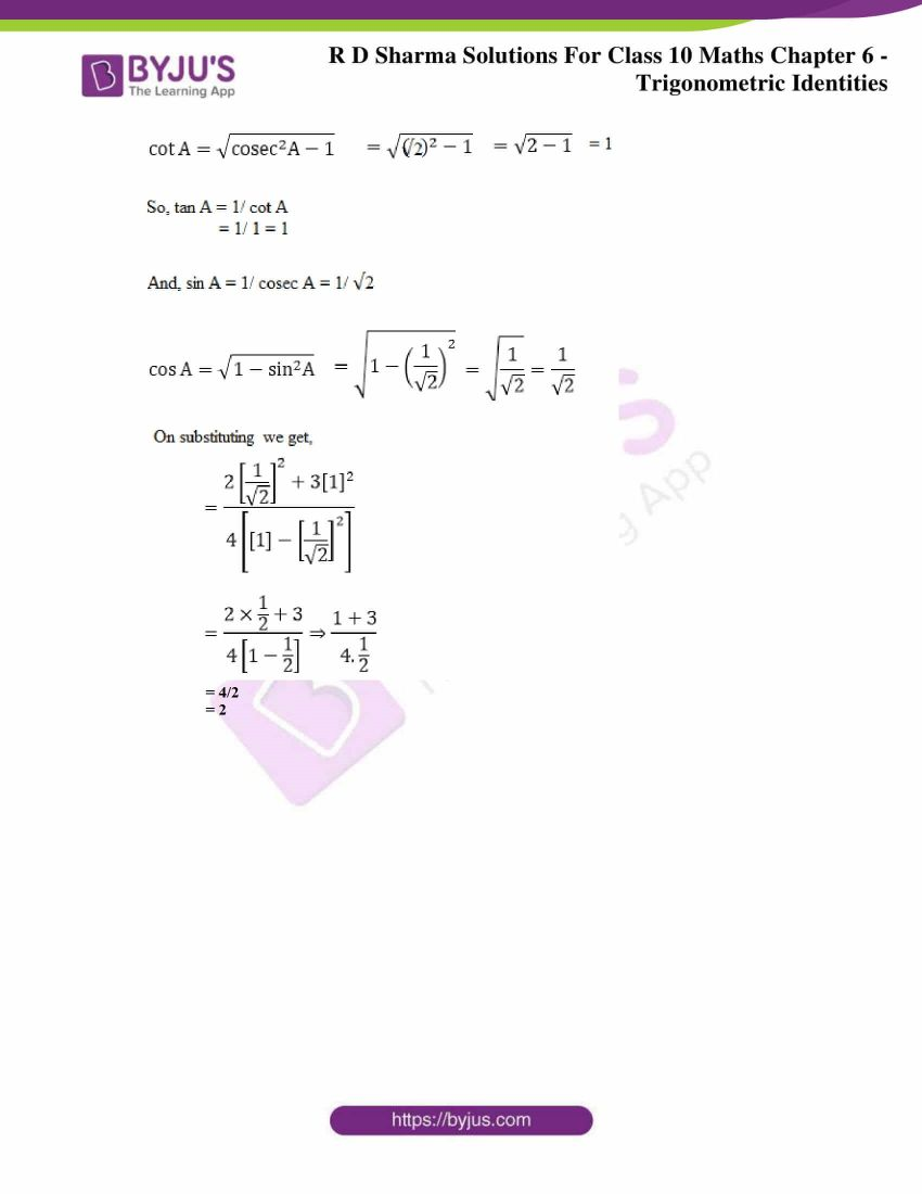 RD Sharma Solutions for Class 10 Chapter 6 Trigonometric Identities Exercise 6.2 35