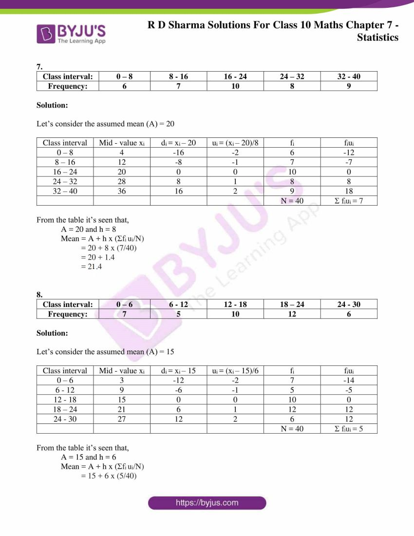 RD Sharma Solutions for Class 10 Chapter 7 Statistics 12