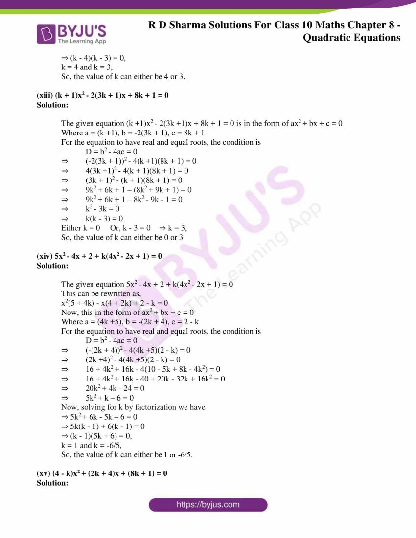RD Sharma Solutions for Class 10 Chapter 8 Quadratic Equations 36