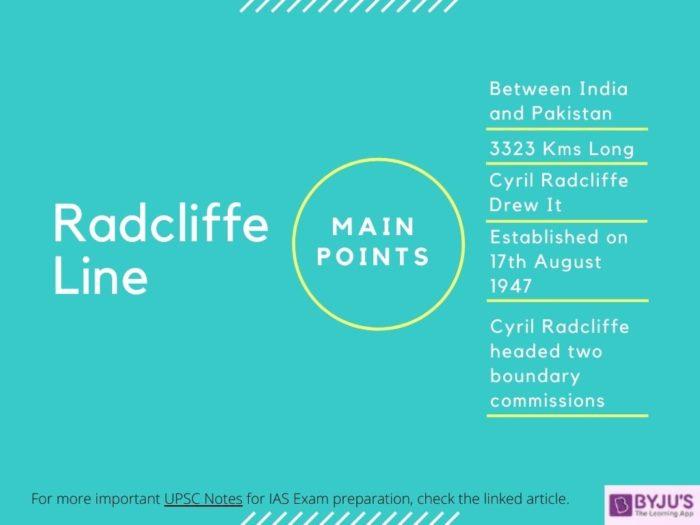 Radcliffe Line - India-Pakistan Borderline [UPSC]