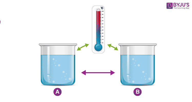 Two cups measuring 100 °C are in equilibrium with each other