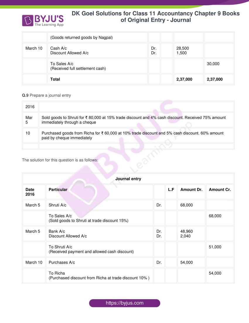 dk goel solutions for class 11 accountancy chapter 9 books of original entry 14
