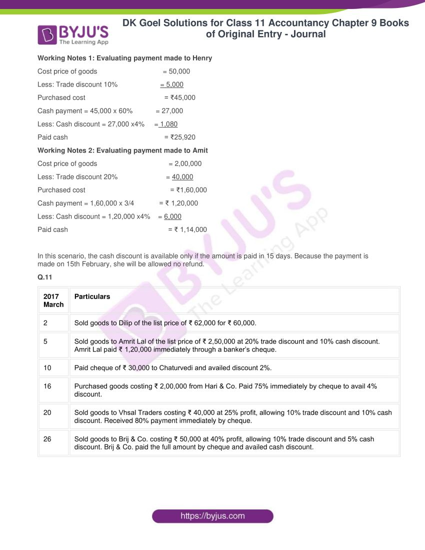 dk goel solutions for class 11 accountancy chapter 9 books of original entry 17