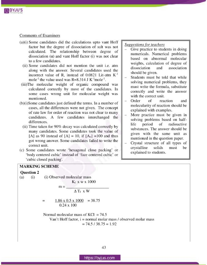 isc class 12 chemistry question paper solution 2015 06