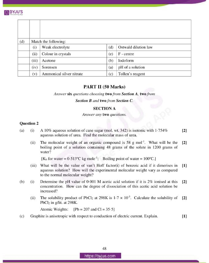 isc class 12 chemistry question paper solution 2016 05