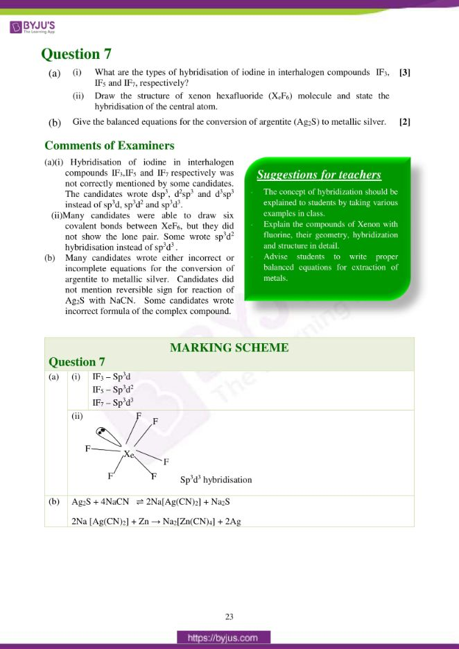 isc class 12 chemistry question paper solution 2017 14