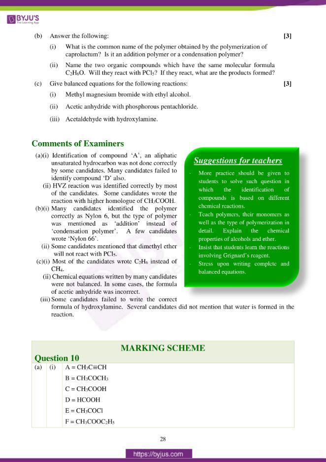 isc class 12 chemistry question paper solution 2017 19