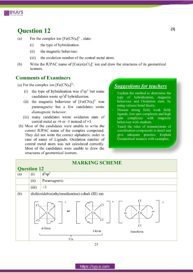 isc class 12 chemistry question paper solution 2018 14