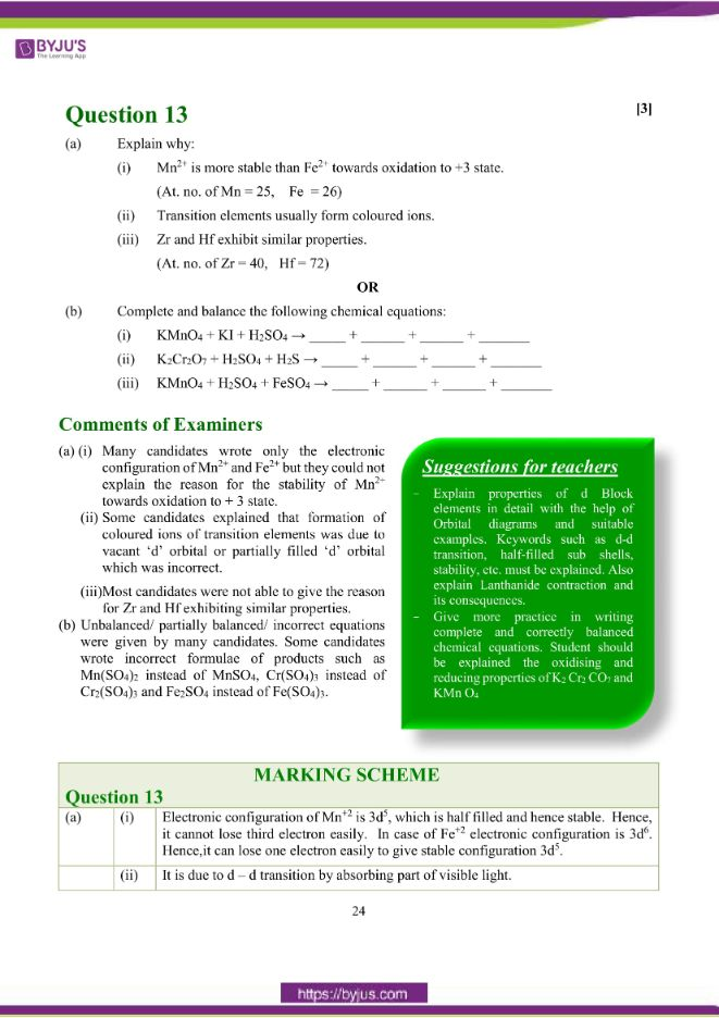 isc class 12 chemistry question paper solution 2018 15