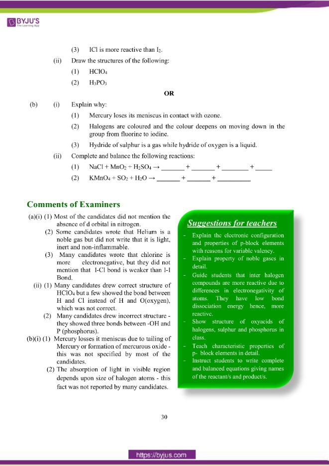 isc class 12 chemistry question paper solution 2018 21