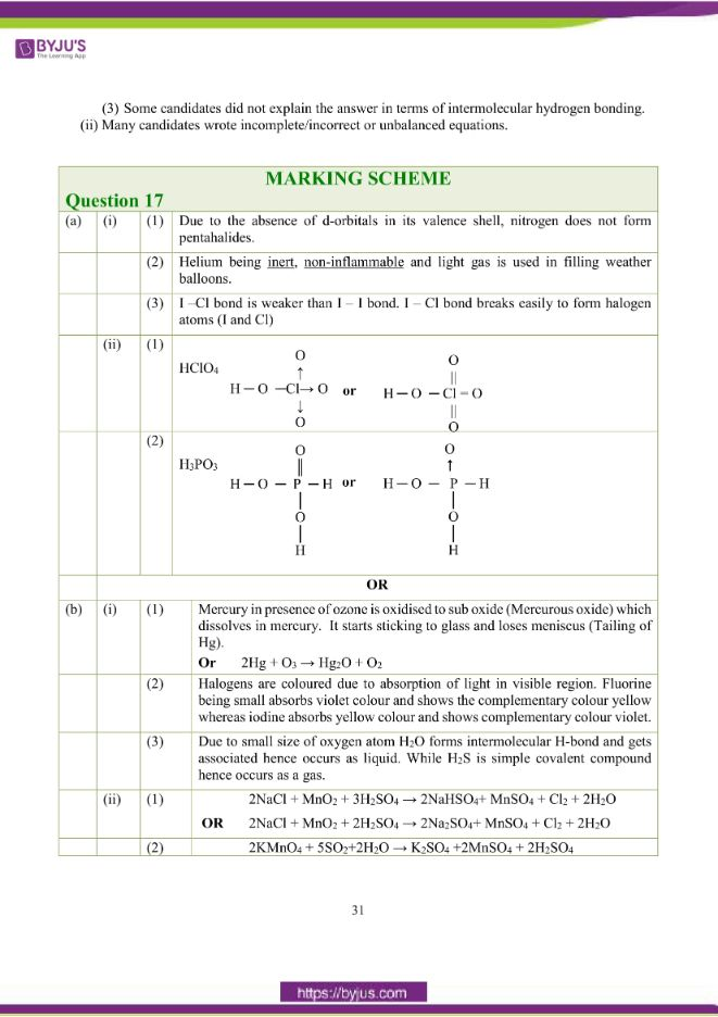 isc class 12 chemistry question paper solution 2018 22