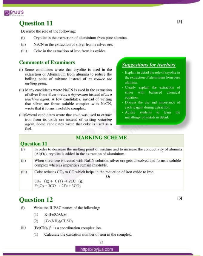 isc class 12 chemistry question paper solution 2019 14