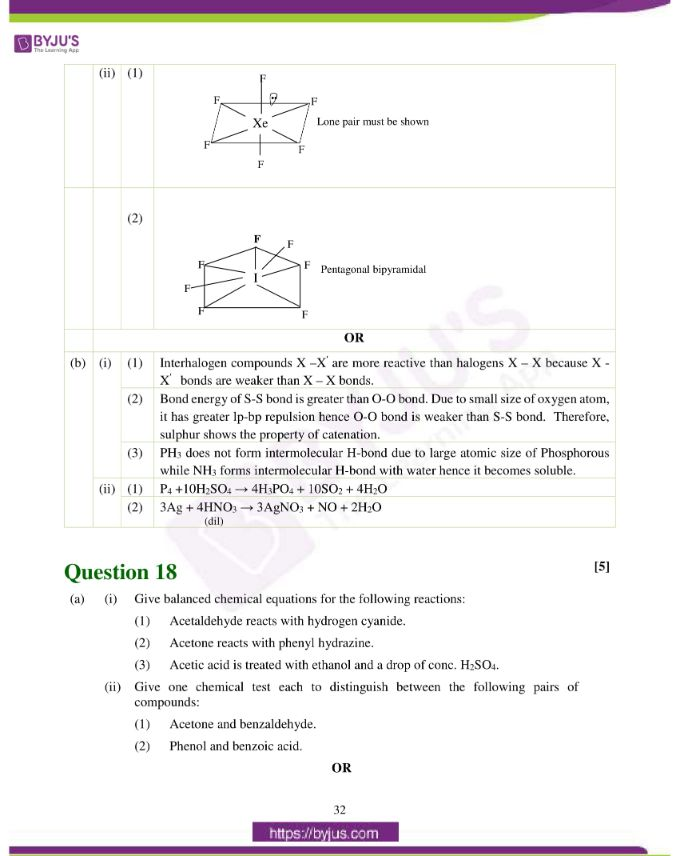 isc class 12 chemistry question paper solution 2019 23