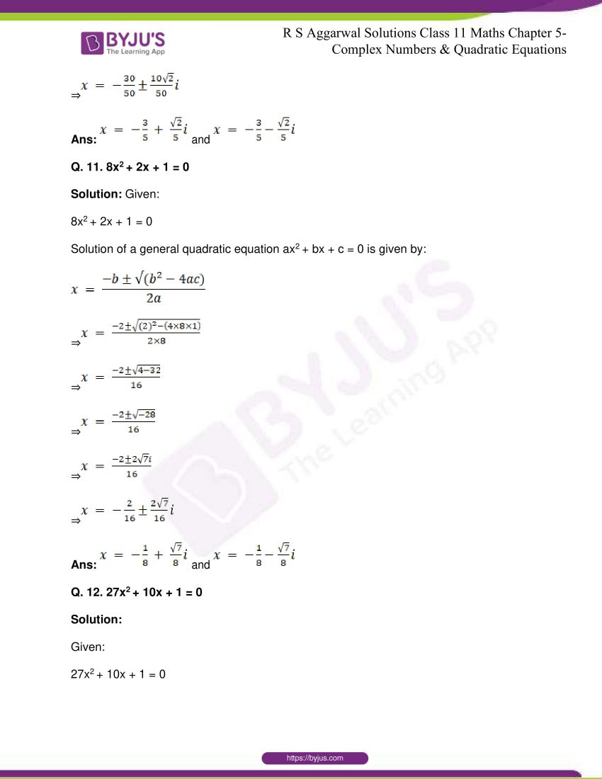rs aggarwal class 11 maths solutions chapter 5 143