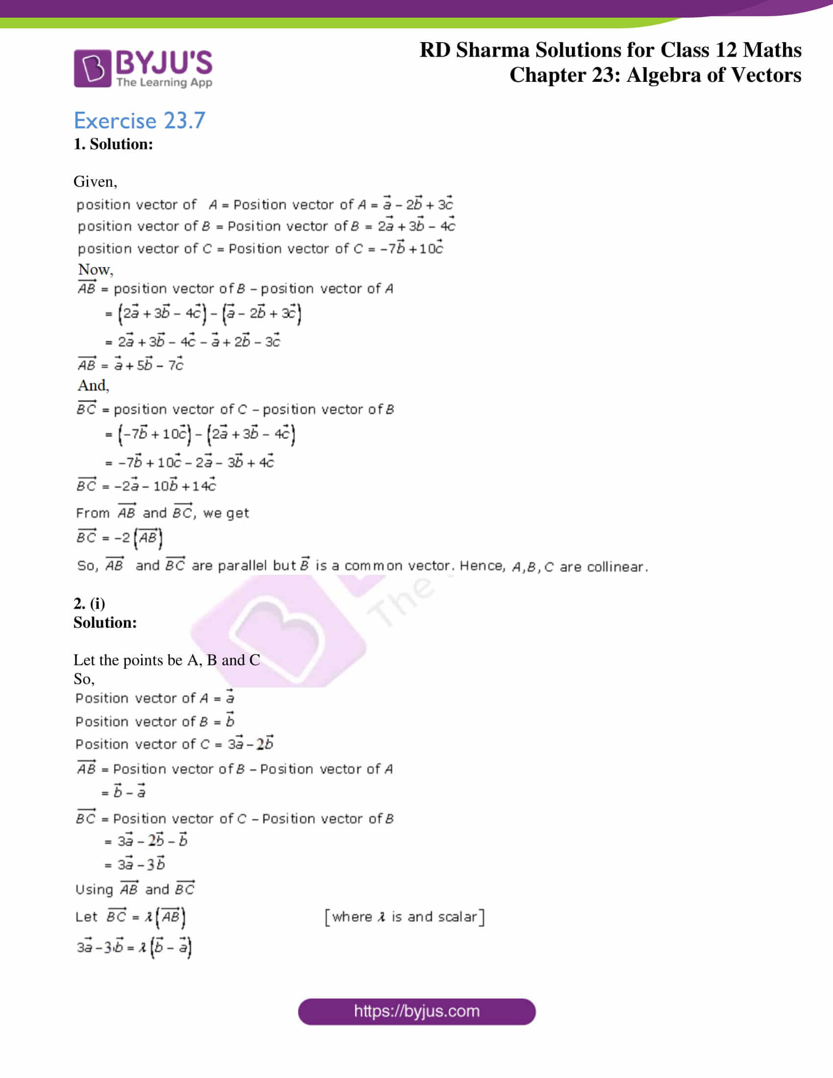 rd sharma class 12 solution for maths chapter 23 ex 7 1