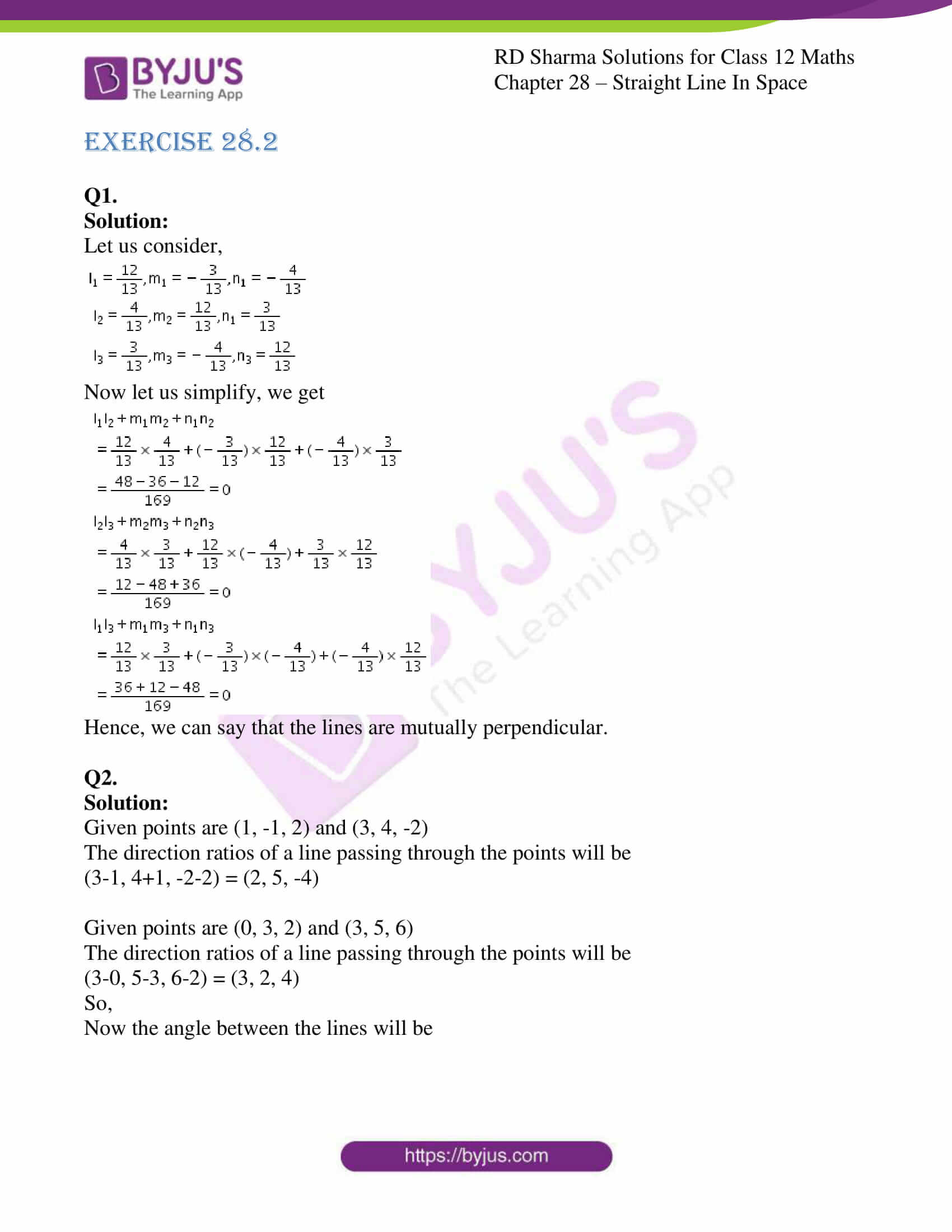 rd sharma class 12 solution for maths chapter 28 ex 2 1