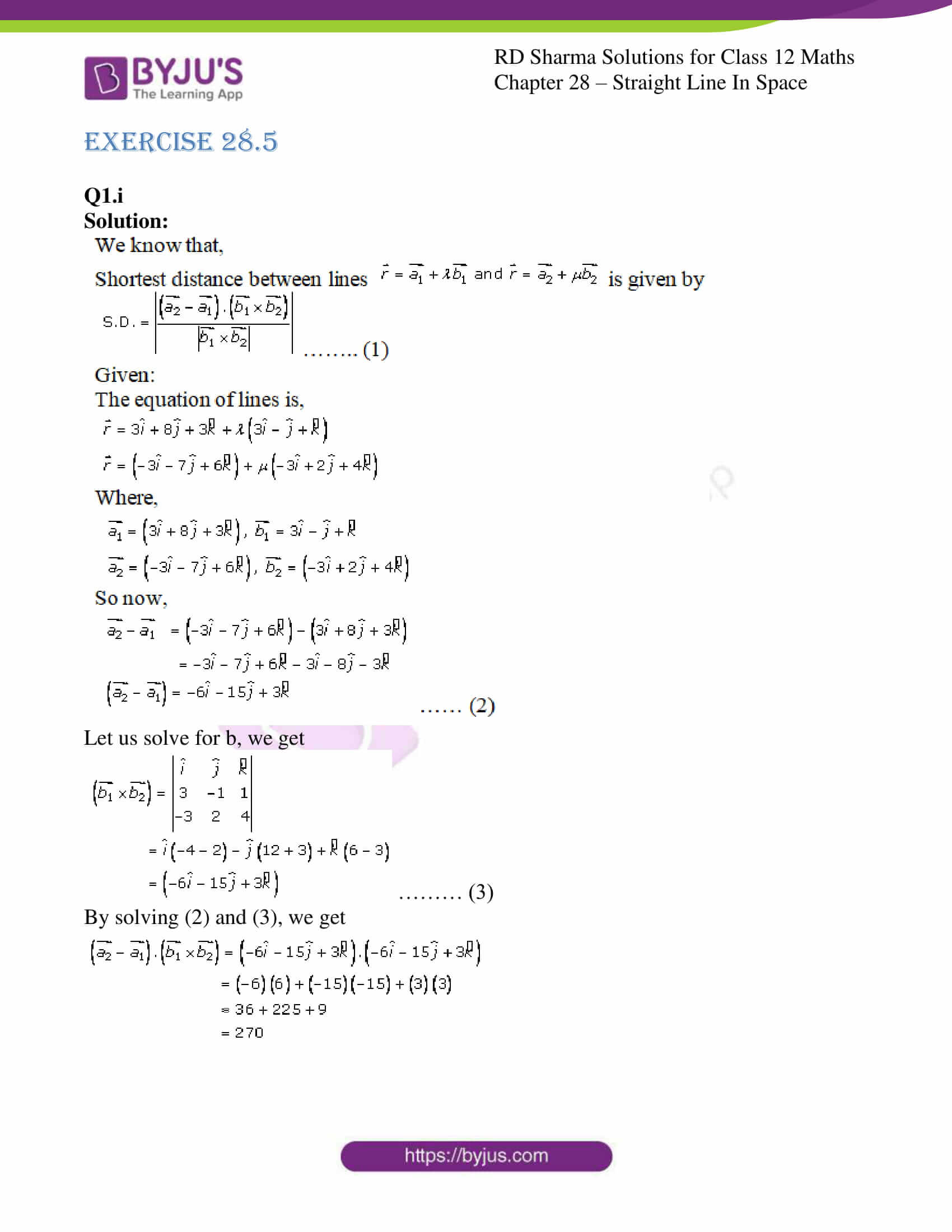 rd sharma class 12 solution for maths chapter 28 ex 5 1
