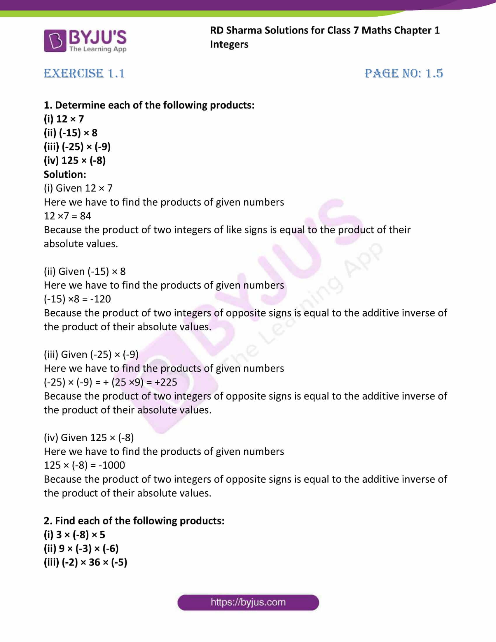 rd sharma maths class7 solution chapter 1 ex 1 1