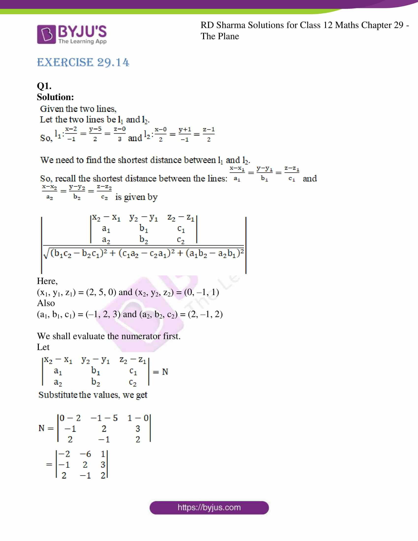 rd sharma solutions for class 12 maths chapter 29 ex 14 1