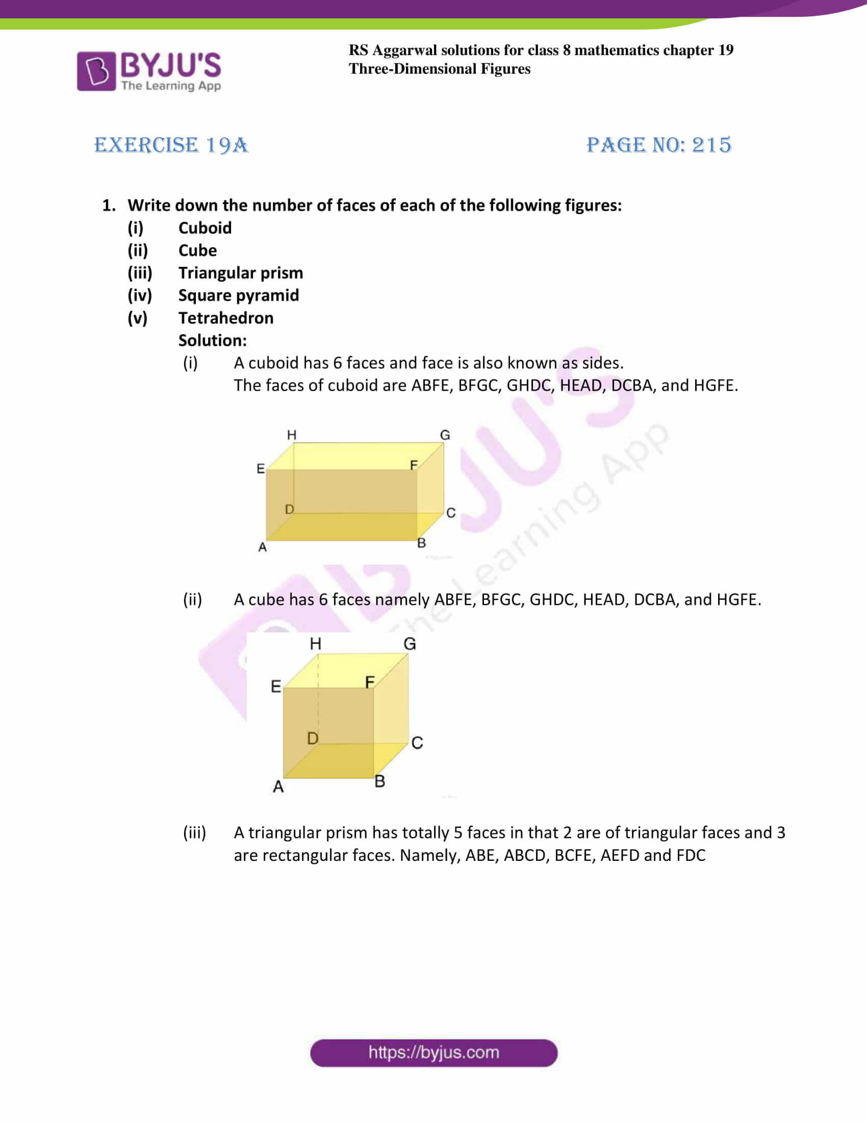 rs aggarwal solution for class 8 maths chapter 19 ex a 1