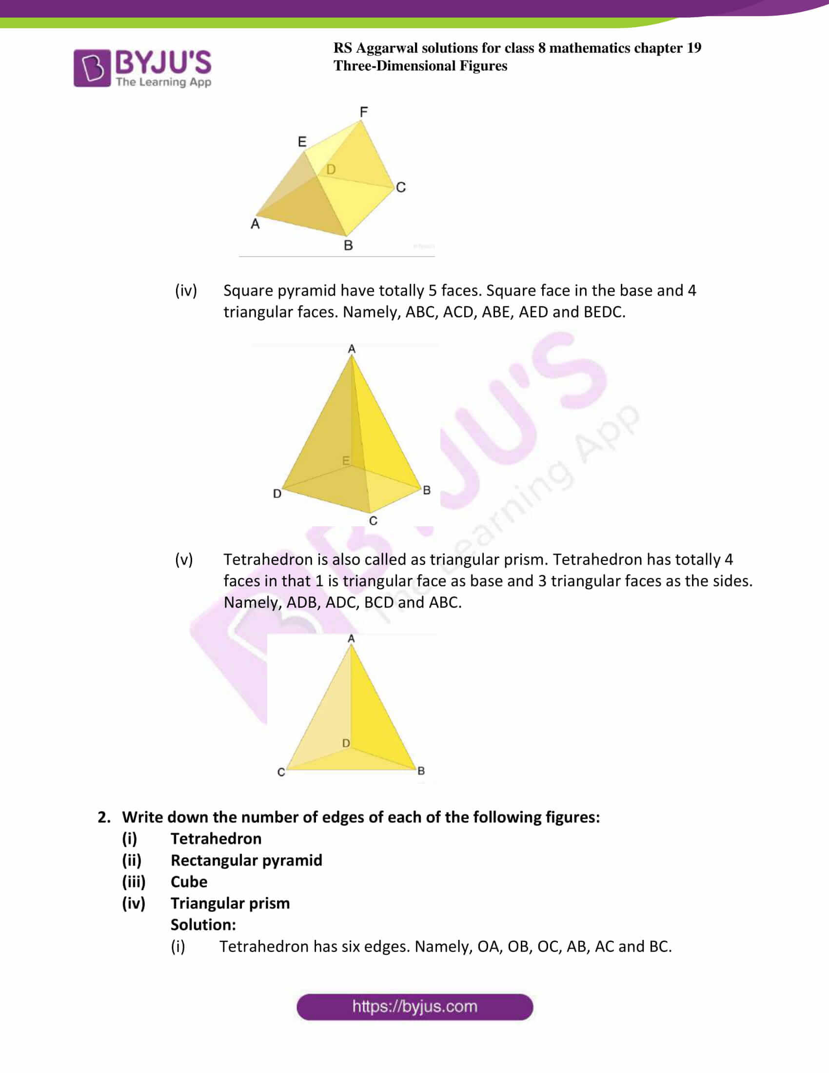 rs aggarwal solution for class 8 maths chapter 19 ex a 2