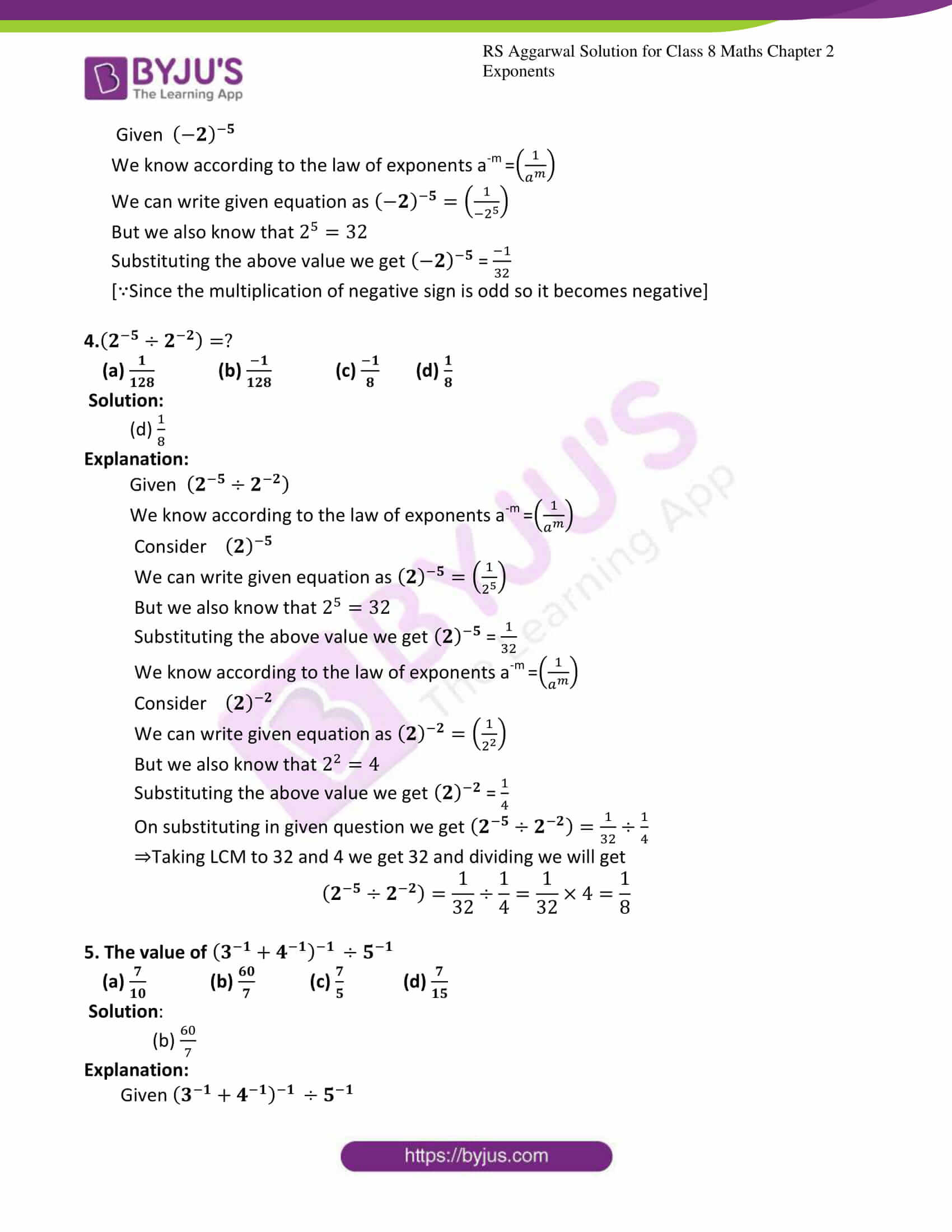 rs aggarwal solution for class 8 maths chapter 2 ex c 2