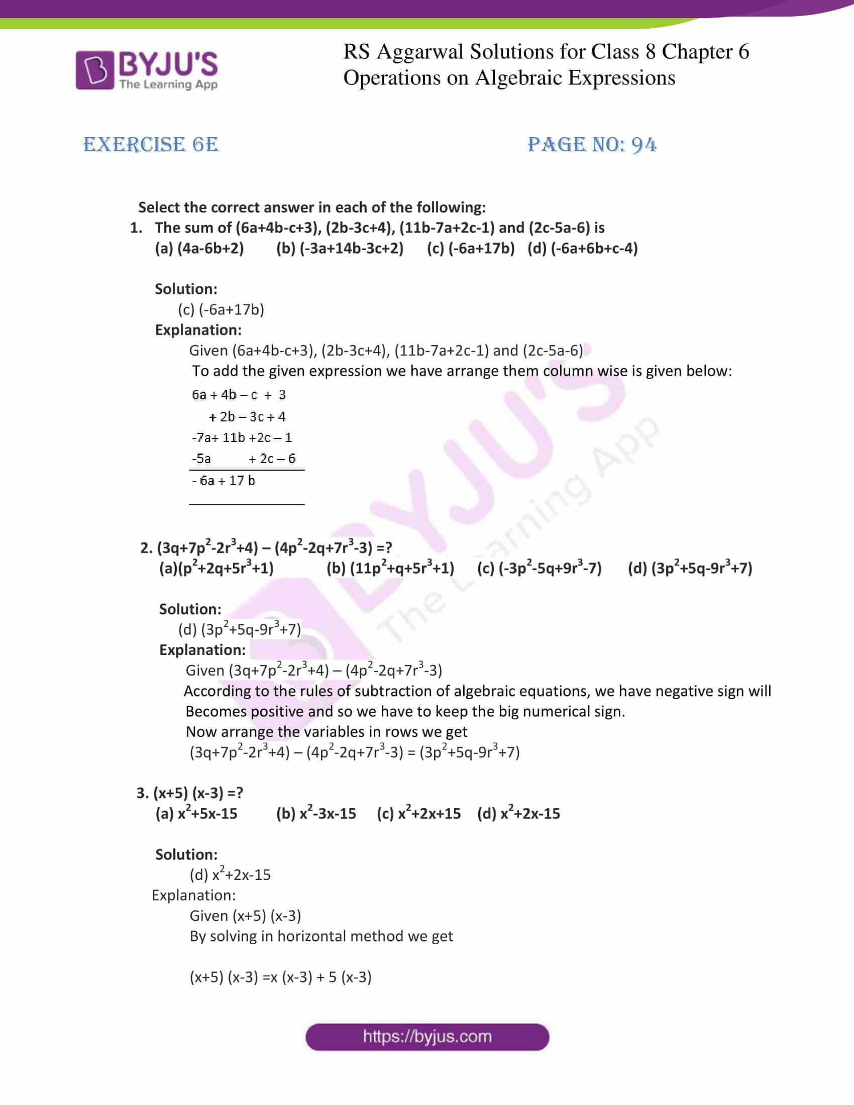 rs aggarwal solution for class 8 maths chapter 6 ex e 1