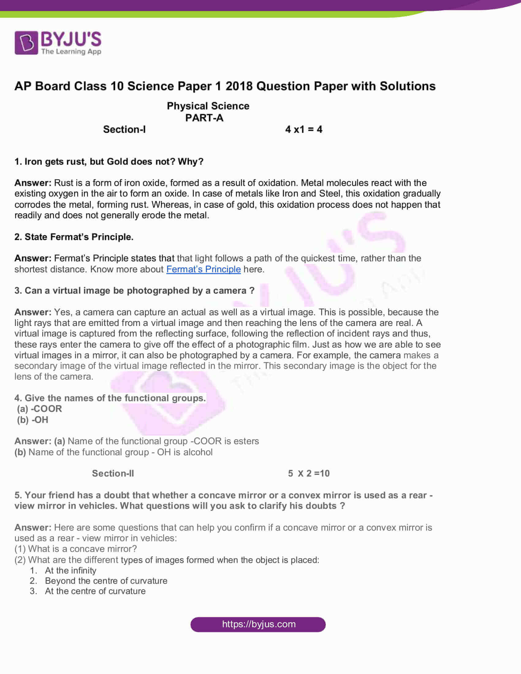 AP Board Class 10 Science Paper 1 2018 Question Paper with Solutions 1