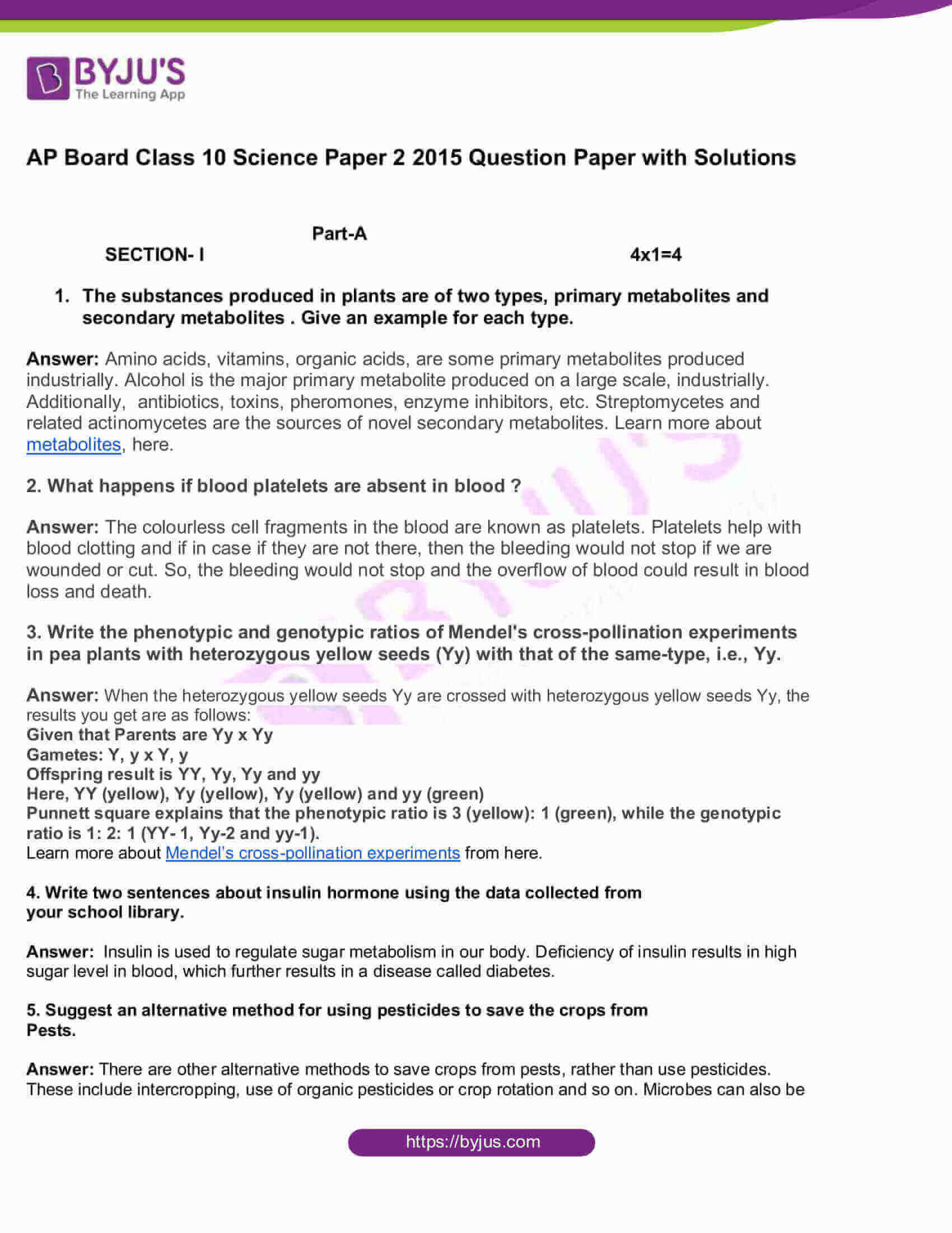 AP Board Class 10 Science Paper 2 2015 Question Paper with Solutions 1